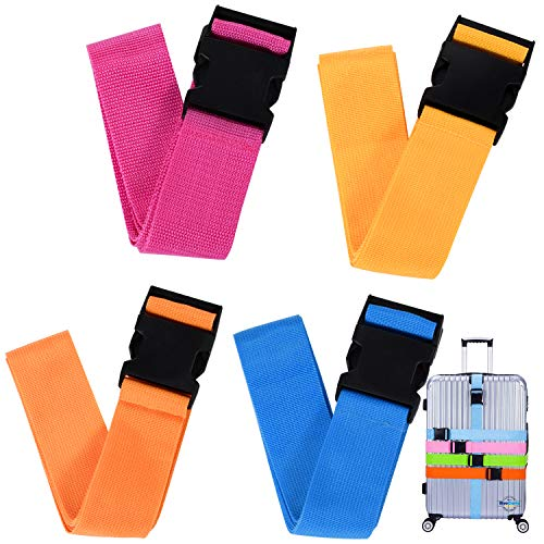 Luggage Straps, Luggage Belt for Suitcase, 4 Pack Adjustable Suitcase Belts, Travel Packing Belt with Buckle Closure Baggage, Security Straps 4 Colors,for Various Luggage Sizes