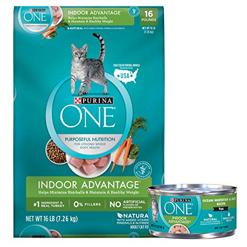 Purina ONE Hairball, Weight Control, Natural Dry Cat Food, Indoor Advantage - 16 lb with ONE Indoor, Natural, High Protein Pate Wet Cat Food, Indoor Advantage Ocean Whitefish & Rice
