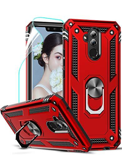 LeYi für Huawei Mate 20 Lite Hülle mit HD Folie Schutzfolie,360 Grad Ring Halter Handy Hüllen Cover Magnetische Bumper Schutzhülle für Hülle Huawei Mate 20 Lite Handyhülle Rot