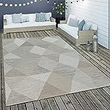 Paco Home In- & Outdoor Flachgewebe Teppich Geometrisch Muster Rauten Muster In Beige, Grösse:160x230 cm