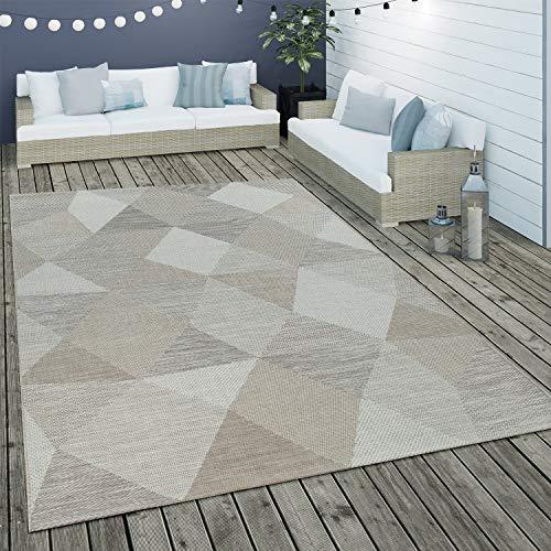 Paco Home Alfombra De Tejido Plano Interior Y Exterior Motivo Geométrico Diseño Rombos Beige, tamaño:160x230 cm