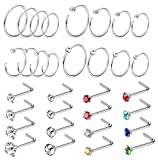 Jstyle 32Pcs Stainless Steel Nose Ring CZ Stud Ring Hoop Body Piercing