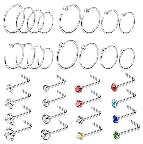 Jstyle 32Pcs Stainless Steel Nose Ring CZ Stud Ring Hoop Body Piercing for Women Girl Silver-tone