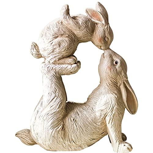 ALIANG Adornos de decoración de jardín Yoga de jardín Escultura de Conejo Entre Padres e Hijos Estatua de Conejo de Resina de jardín Decoración al Aire Libre Deseos Regalos de inauguración de la ca