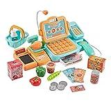 STOBOK 24 Piezas Niños Caja Registradora Compras Juego de Imaginación Juego de Comida con Sonido Micrófono Escáner Calculadora Contando Juguete Juguete Educativo Temprano Amarillo