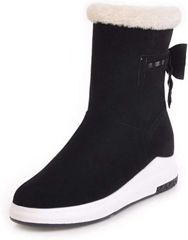 Hoxekle Women Mid Calf Flats Snow Boots Bowtie Round Toe Plush Fur Slip On Fashion Warm Winter shoes Women Footwear