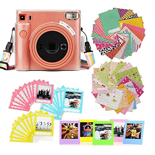 Ngaantyun Camera Accessories Bundle Kit for Instax Square SQ1 Instant Camera, PVC Camera Case/Border Stickers/Desktop Stand Frames/Photo Lace Bags