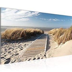 Bilder 110 x 40 cm !!! Sensationspreis !!! XXL Format TOP Vlies Leinwand Wand Bild Strand Kunstdrucke Wandbild ! 3 Farben zur Auswahl ! Fertig Aufgespannt !!! 100% MADE IN GERMANY !!! 604011a