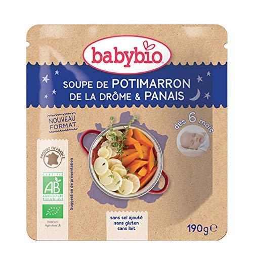 Babybio Soupe de potimarron de la Drôme, panais, dès 6 mois, bio - Le doypack de 190g
