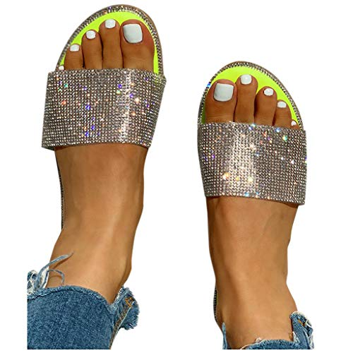 Aniywn Women's Sandals Glitter Crystal Roman Style Flat Slippers Summer Casual Beach Slip On Party Shoes Yellow