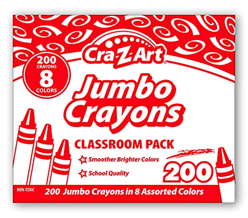 Cra-Z-Art Jumbo Crayon Bulk Class Pack 200ct 8 Assorted Colors, 25 Jumbo Crayons in Each Color