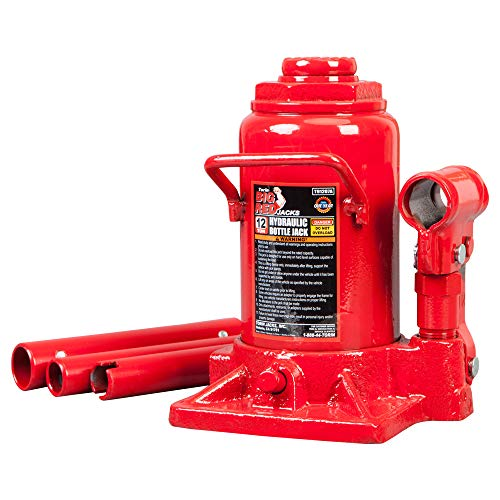 BIG RED T91207A Torin Hydraulic Stubby Low Profile Welded Bottle Jack, 12 Ton (24,000 lb) Capacity, Red