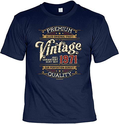 Herren Geburtstag T-Shirt - 50 Jahre - 100 Prozent Premium Vintage seit 1971 - lustige Shirts 4 Heroes blau Geschenk-Set Bedruckt mit Urkunde