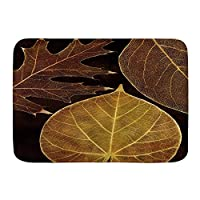 VINISATH バスマット 風呂マット Nature Autumn Maple Leaves Branches in Fall Earthen Tones Faded Woodland Art Print 足拭きマット 吸水 速乾 滑り止め 浴室 洗面所 脱衣所 風呂 台所 キッチン玄関マット(45x75cm)