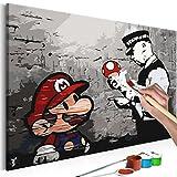 murando - Malen nach Zahlen Banksy Mario 60x40 cm Malset mit Holzrahmen auf Leinwand für Erwachsene...