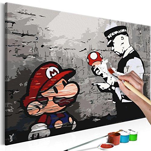 murando - Malen nach Zahlen Banksy Mario 60x40 cm Malset mit Holzrahmen auf Leinwand für Erwachsene Kinder Gemälde Handgemalt Kit DIY Geschenk Dekoration n-A-0266-d-a
