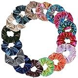 Simpeak 16 Pcs Goma de Pelo Lazo para scrunchies terciopelo de Velvet Elástico Hair Scrunchies+Elástico Metalizadas Hair Scrunchies Colores Gradiente,16 Pcs Multicolor