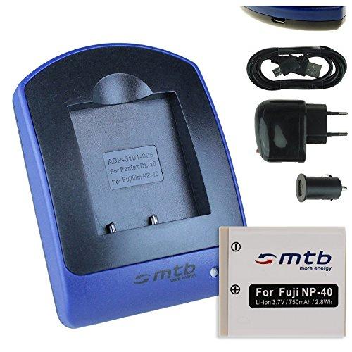 Baterìa + Cargador (USB/Coche/Corriente) para Fuji NP-40 / Pentax D-Li8, D-Li 85 / BenQ DLi-102 / Jay-Tech/Medion UVM - s.Liste