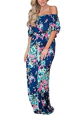 Sidefeel Women Ruffle Off Shoulder Floral Print Maxi Boho Dress