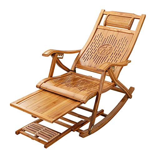 HAIYU- Bamboo Recliner, Folding Reclining Garden Chair Balcony Rocking Chair with Headrest and Armrests, 5-position Adjustable Back, Outdoor Leisure Sun Lounger