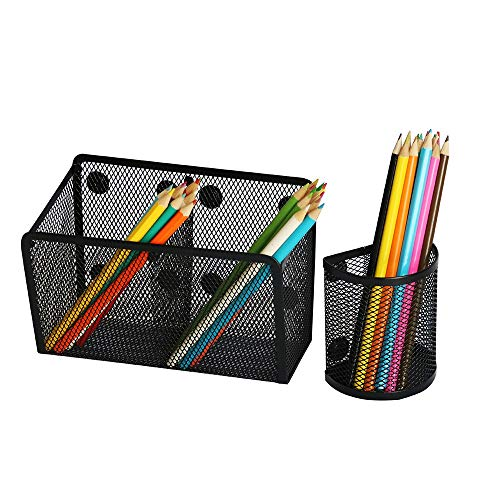 33% EXTRA STRONGS MAGNETS - Two Mesh Magnetic Basket Pen Holder - Perfect Organizer for Whiteboard Marker Dry Erase Notepad Pencil, Refrigerator Fridge Office and Locker Accessories