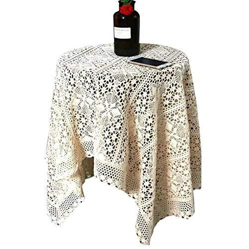 BSTLY Crochet Mantel Hecho A Mano Mantel Encaje Tela Hueca Blanco 60 Redondo