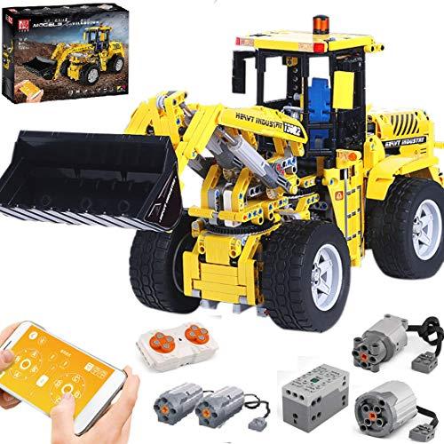 PEXL Technik Radlader Bausteine Bausatz, Technic Frontlader Modell mit 2.4G Fernbedienung und Motoren, 1500 Klemmbausteine Kompatibel mit Lego Technic