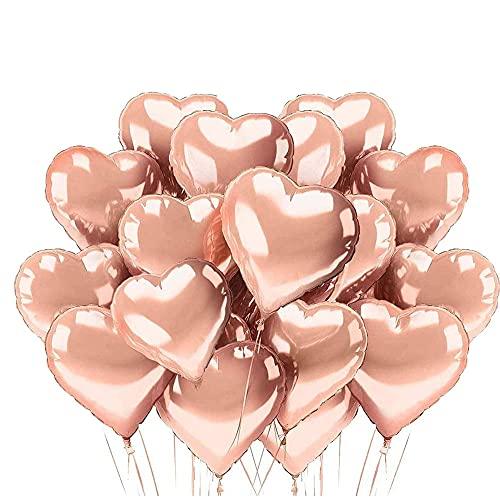 LIZHIGE 25 Globos de Papel de Aluminio,Globos en Forma de Corazón para la Decoración del Partido Propuesta de Matrimonio Boda Aniversario Cumpleaños Decoración de Helio | Regalo (Oro Rosa)
