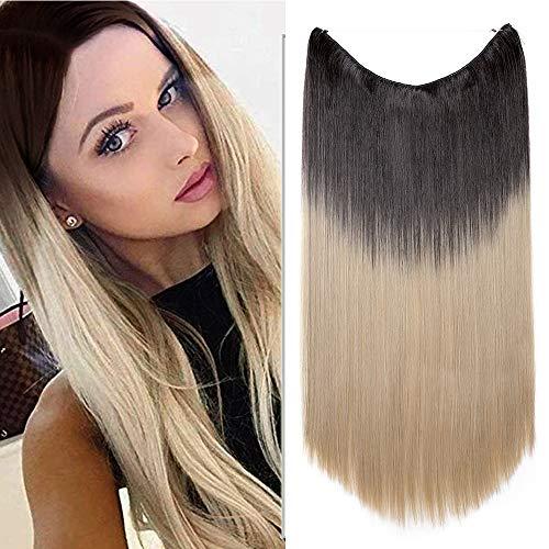 Silk-co Extension Fil Invisible Cheveux Synthétique Lisse Raide Extension a Fil Elastique Rajout Cheveux 20 Pouces, Brun Foncé à Blond Cendré