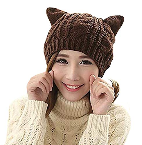 Amberetech Cute Woollike Knitted CAT Kitty Ears Girl Crochet Hats (Coffee)