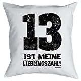 Klasse Kissen in weiß : 13 ist meine Lieblingszahl ! von Goodman Design !