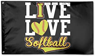 WINDST Personalized Ive Love - Softball Logo Garden Flag 3x5 ft Outdoor Garden Decorative Banner Black