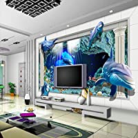 3D水中世界の写真の壁紙カスタムイルカの壁紙海かわいい動物の壁壁画ユニークなアートルームの装飾子供部屋の寝室, 350cm×245cm