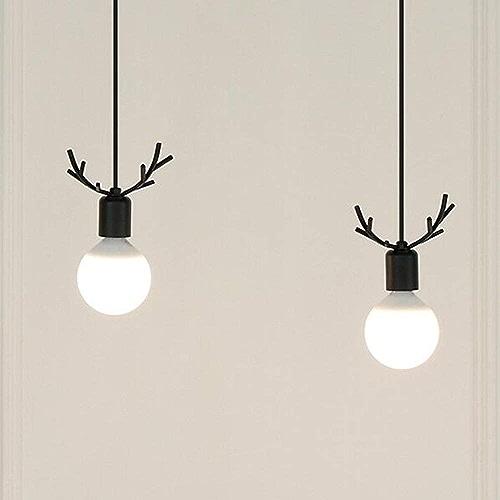 FDA3H Suspension lampe salle à hommeger moderne réglable en hauteur lampes suspendues en fer Minimalist Antlers forme suspension intérieure, lustre pour salon salle à hommeger chambre E27 Design, fer, noi