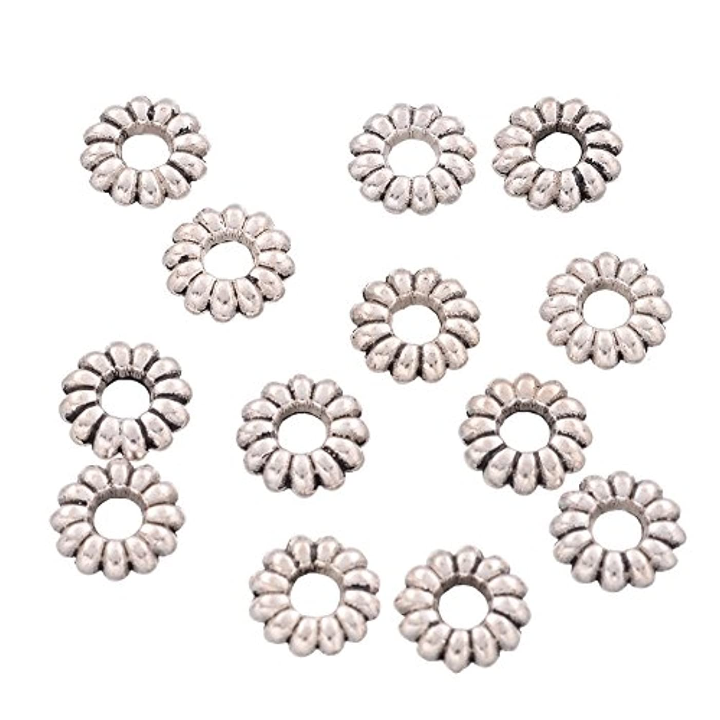 NBEADS 1000 Pcs Rondelle Tibetan Silver Beads, Lead Free & Nickel Free & Cadmium Free, Antique Silver, About 6.5mm Thick, Hole: 2mm