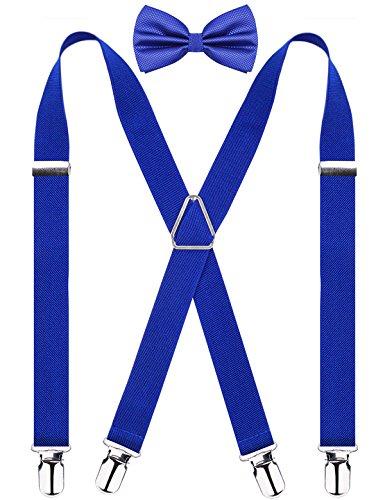 Men's X Back Suspender and Bow Tie Set Elastic Adjustable Braces, Royal Blue