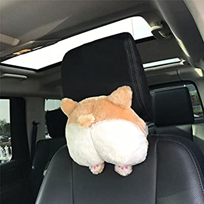 Headrest Cushions,Hemlock Cute Back Cushion Car Seat Backing Block Car Headrest Warm Hands Pillow (Khaki, 25cm)
