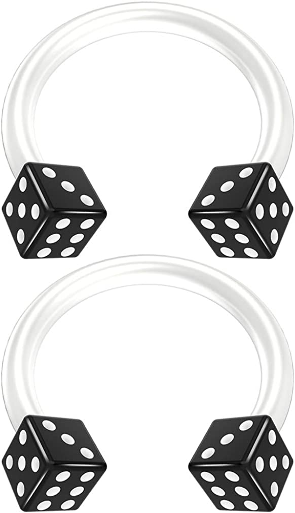 2pc 14g Acrylic Dice Flexible Bioflex Circular Barbell Horseshoe Septum Ring Bioplast Piercing 10mm