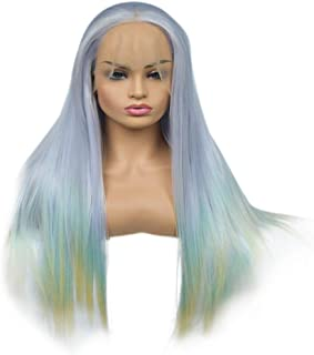 Fashian Gradient Color Front Lace Wig Ladies High Temperature Wire Half Hand Hook Long Straight Hair Heat DIY Fun (Color : Photo Color, Size : 20 inches)