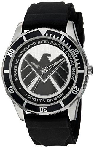 Relógio com logotipo preto Agents of Shield com pulseira de silicone preta