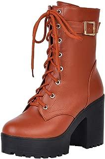 Botas Militares de Cuero de la PU Botas Plataforma cuña con Cordones Tacón Ancho para Mujer Otoño Invierno Moda 2018 PAOLIAN Botas Biker Zapatos Señora Talla Grande Calzado Dama Estilo Británico