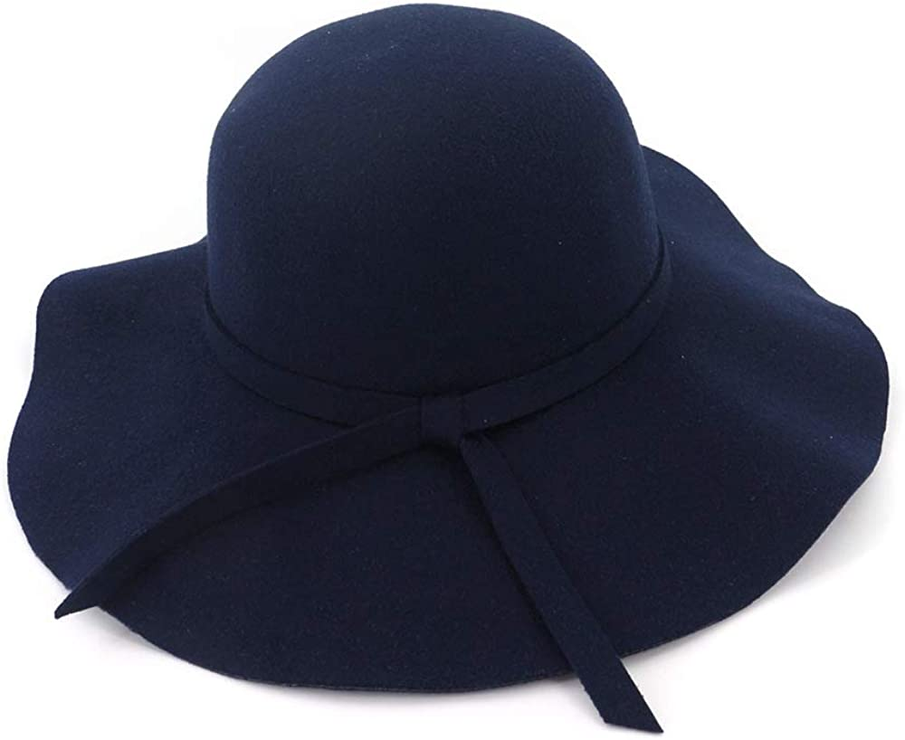 TANGADYL Women Wide Brim Panama Hat Warm Wool Fedora Classic Retro Style Costume Accessory