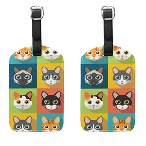 Cute Cats Luggage Tags for Women and Men Baggage PU Leather Name Tags for Luggage Suitcase Labels with Bulk Set of 2