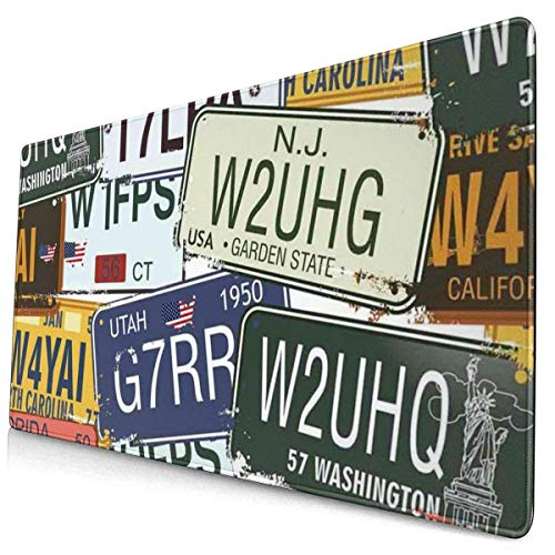Mousepad Vintage Original License Plates Travel Gaming Mouse Mat For Home Office Game Desk 15.8 X 29.5 Inch