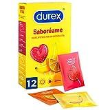 Durex Préservatifs Saboreame avec arômes fruités – Fraise, palais, orange et pomme – 12 préservatifs