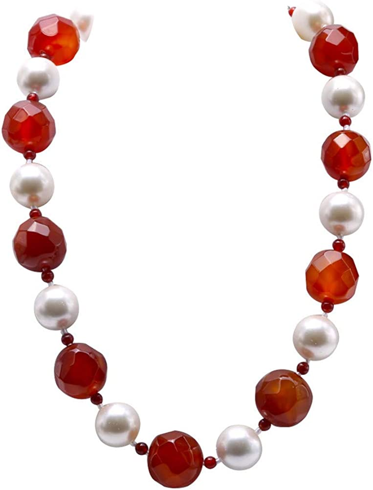 JYXJEWELRY Red Agate and Sea Shell Necklace Single Strand Gemstone Jewelry for Women 20