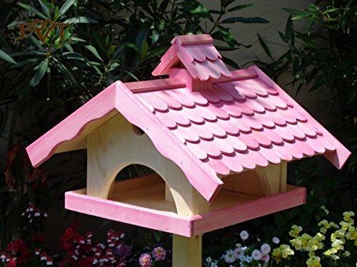 Vogelhaus, groß, BEL-X-VONI5-LOTUS-LEFA-pink002 Großes wetterfestes PREMIUM Vogelhaus mit wasserabweisender LOTUS-BESCHICHTUNG VOGELFUTTERHAUS + Nistkasten 100% KOMBI MIT NISTHILFE für Vögel WETTERFEST, QUALITÄTS-SCHREINERARBEIT-aus 100% Vollholz, Holz Futterhaus für Vögel, MIT FUTTERSCHACHT Futtervorrat, Vogelfutter-Station Farbe pink rosa rosarot süß, MIT TIEFEM WETTERSCHUTZ-DACH für trockenes Futter