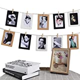 iPhyhe Cardboard Paper Photo Picture Frame Set String Clips DIY Decoration Display Cubicle Wall Hanging (6-inch,10pcs)