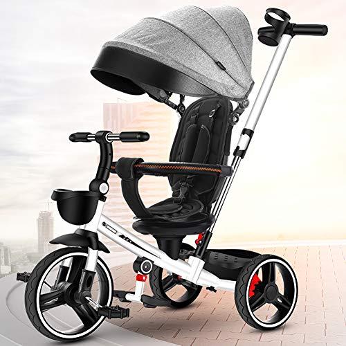 ZTIANR Folding Kinder Trike, Baby-Kind-Kleinkind-Reverse-Dreirad Fahrrad Trike Aufsitzspielzeuge Spaziergänger Prams Baby-Auto-Kindersitze Kinderwagen Für Kinder Autositze,Weiß