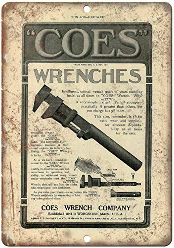 Coes Wrenches Vintage Tool Adduction Metal Sign Party Props Plaque/Sign 8x12 inch
